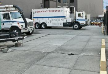 Emrgency Vehciles Parked at 19 E. Houston St