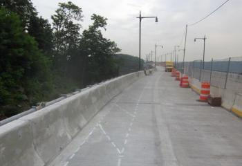 New east roadway lane ready for striping