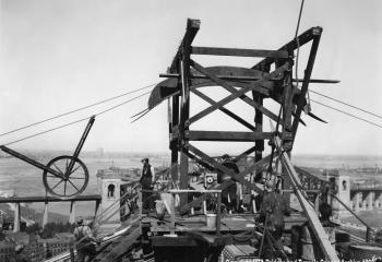 Spinning the cable wires, May 15, 1935.