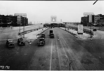 Harlem River lift span in distance, view from 125th Street. October 1936.