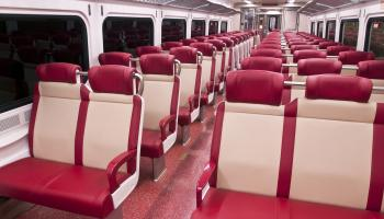 Shows interior of new M-8 car with roomy seats