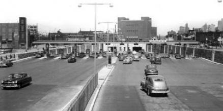 Cars drive through the newly opened Hugh L. Carey Tunnel from Brooklyn into Lower Manhattan.