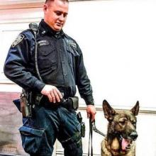 Police Officer Tieniber and Bear